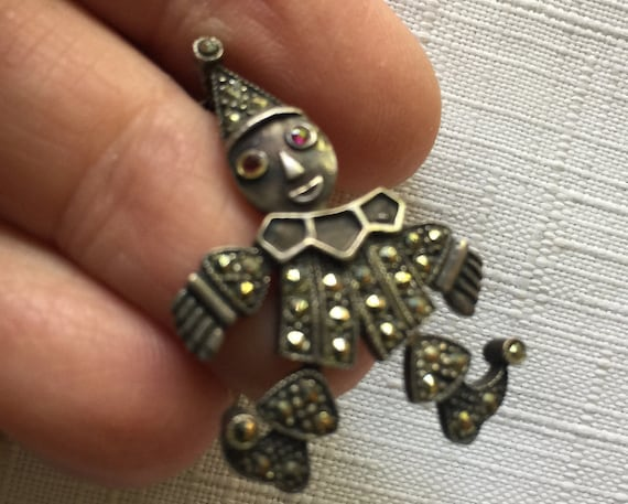 Clown Pendant, Marcasite Necklace,Clown Necklace,M