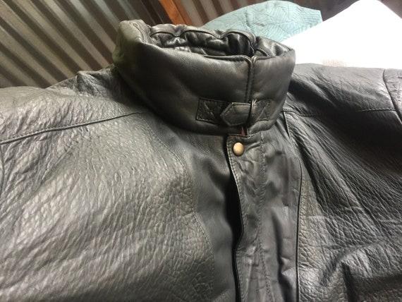 Black Leather Jacket, Black Bomber Jacket, Italy L