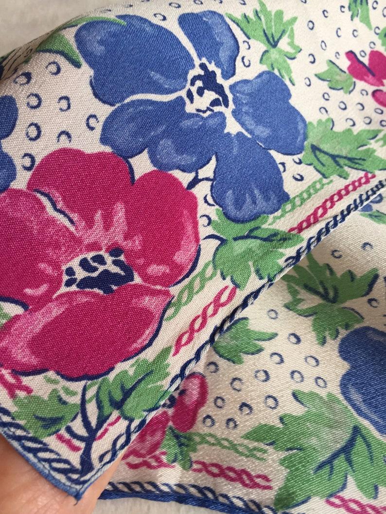 Retro Flower Hankie Pansy Handkerchief Floral Handkerchief Flower Hankie Blue Floral Hankie Retro Floral Hankie Flower Handkerchief