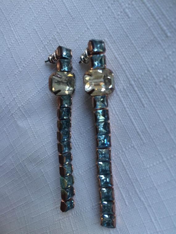 Blue Rhinestone Earring, 60s Rhinestone Earring, A