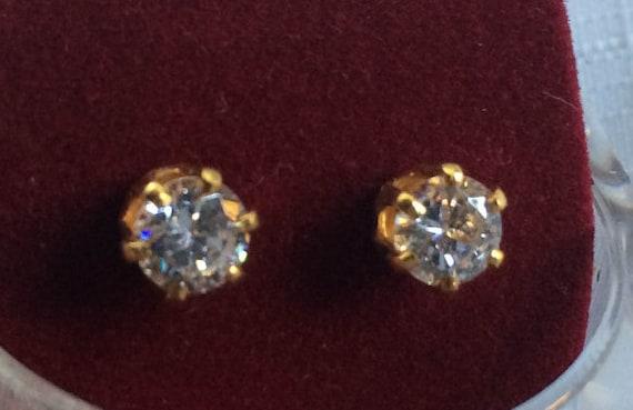Diamond Earring, Diamond Stud, Cubic Zirconia Stu… - image 2