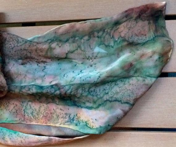 Designer Silk Scarf,Painted Silk Scarf,Tie Dye Sca