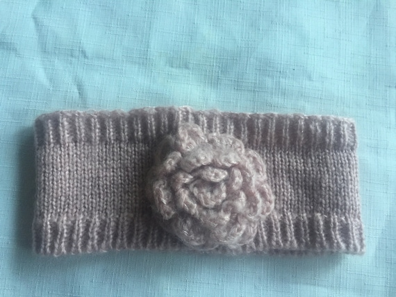 Pink Knit Headband,Pink Headband,Flower Headband,… - image 1