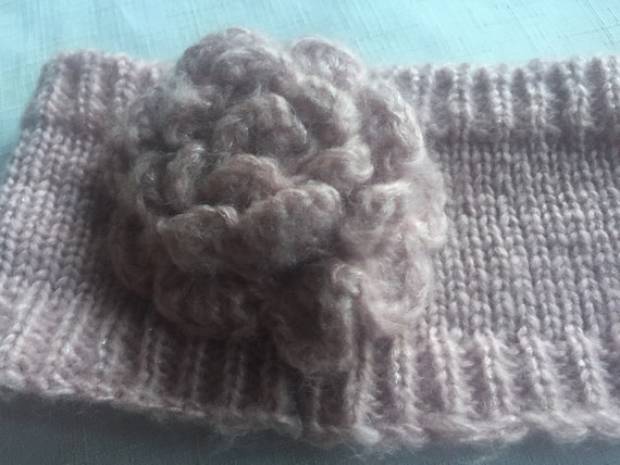 Pink Knit Headband,Pink Headband,Flower Headband,… - image 6