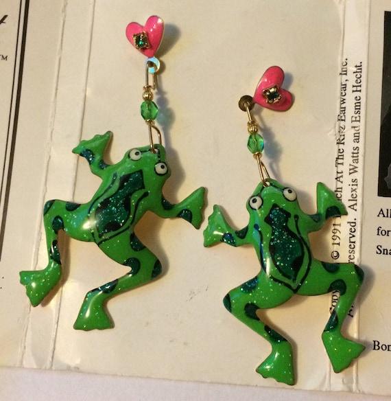 Frog Earring, Sparkly Green Earring, Frog Drop Ear