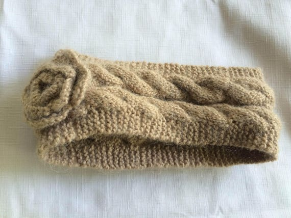 Tan Knit Headband,Beige Headband,Flower Headband,… - image 4