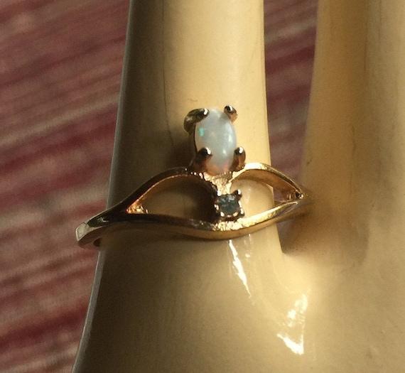 Opal Diamond Ring, Opal Pinkie Ring, Opal Pinky Ri