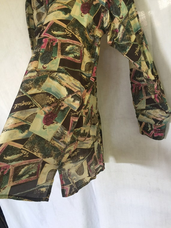 Silk Blouse, Silk Tunic, Silk Print Tunic, Long S… - image 9
