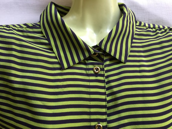 Silk XL Top, Silk Blouse, Stripe Silk Top, Green S