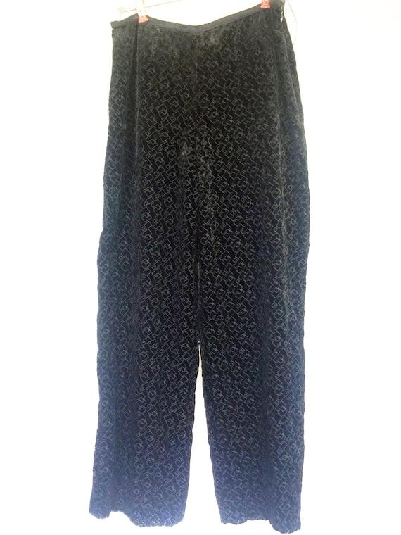 Black Velvet Pants, Black Armani Pants, Italy Blac