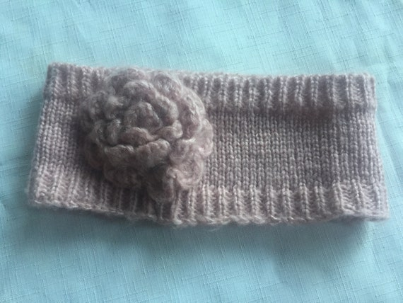 Pink Knit Headband,Pink Headband,Flower Headband,… - image 7