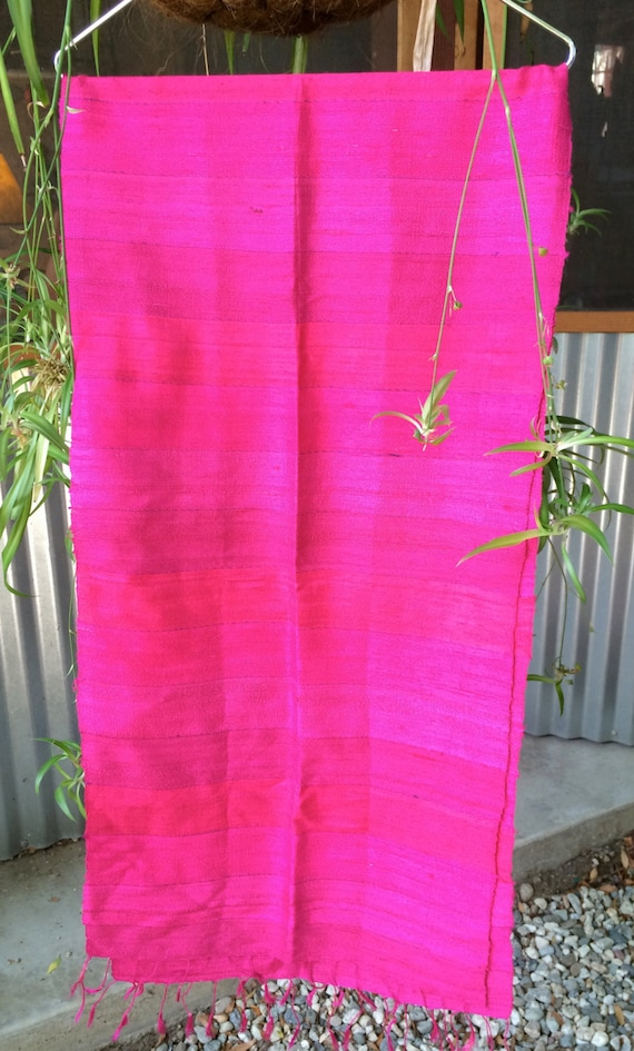 Bright pink scarf, Hot Pink Scarf, Hand woven scar