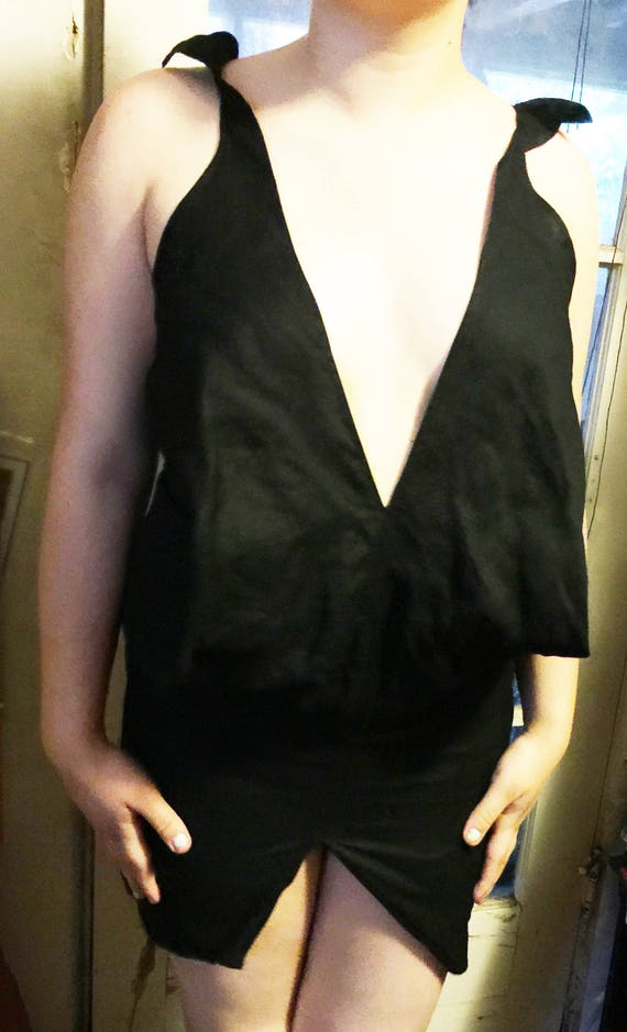 Low Cut Dress, Black Sexy Dress, Black Mini Dress,