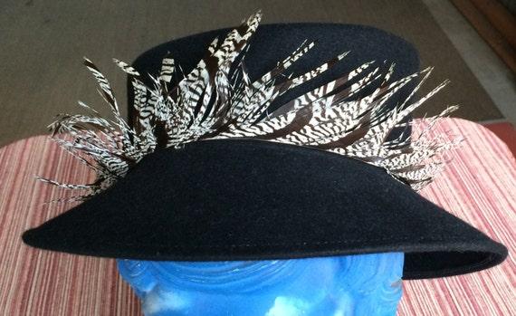 Retro Ladies Hat,Designer Hat,Black 40s Hat,Italy