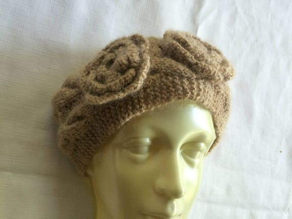 Tan Knit Headband,Beige Headband,Flower Headband,… - image 2