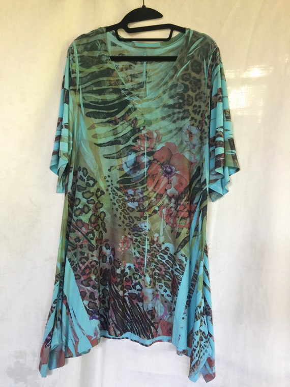 Floral Tunic, Tropical Tunic, Tropical Blouse, Sum