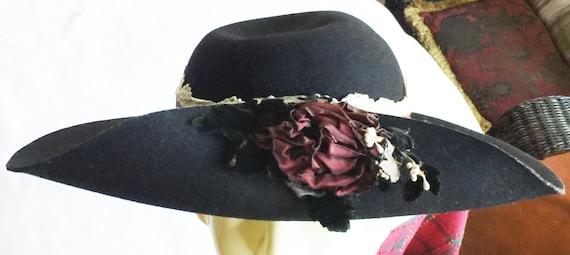 Retro Hat,Wide Hat,Black Retro Hat,Black Wool Hat,