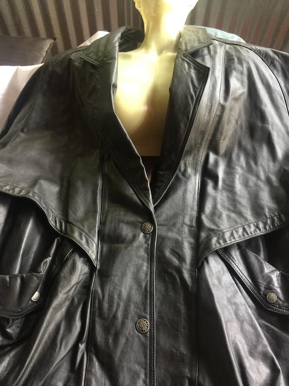 Black Leather Jacket, Oversize Black Coat, Black L