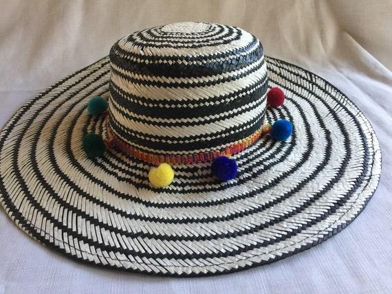 Pom Pom Sun Hat, Wide Brim Hat, Straw Hat,Pom Pom