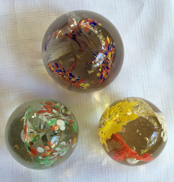 "New 7/"" Hand Blown Glass Art Ball Paperweight Sculpture Bubble Clear"