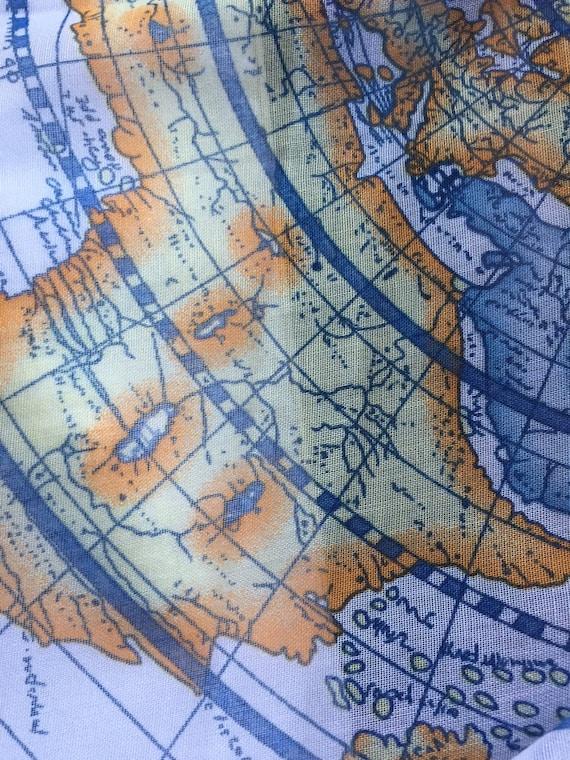 Oversize Print Scarf, Map Scarf, Global Scarf, Blu
