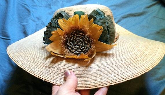 Sunflower Hat, Wide Brim Hat, Straw Hat, Flower Ha