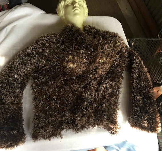 Brown Fuzzy Sweater, Brown Fuzzy Cardigan, Brown C