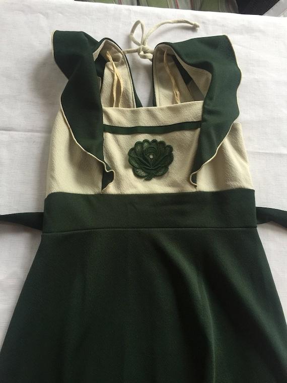 70s Long Dress, Long Green Dress, Sleeveless Long
