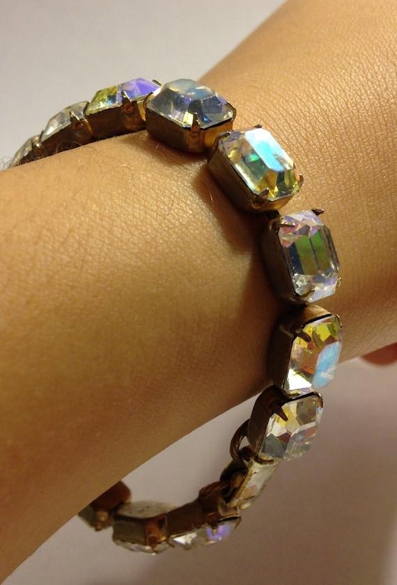 Aurora Borealis Bracelet, Rhinestone Bracelet, Bri