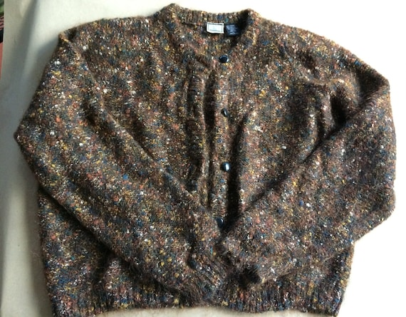 Brown Sweater, Mohair Sweater,Women Cardigan,Large