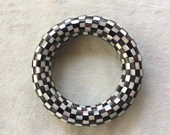 Shell Bracelet,Checker Bracelet,Mother Pearl Bangle,Shell Bangle,Geometric Bangle,Checkerboard Bangle,Inlaid Bracelet,Black White Bracelet