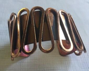 Copper Bracelet,Renoir Bracelet,Copper Cuff,Wide Copper Cuff,Retro Copper Cuff,Modernist Cuff,Renoir Cuff,Modernist Bracelet,Big Copper Cuff