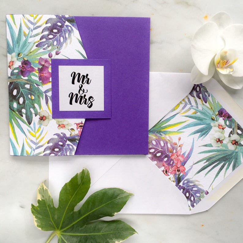 SAMPLE Tropical Wedding and Special Event Square Pocketfold image 0