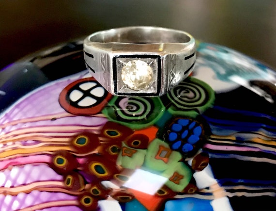 Vintage Sterling Silver Gemstone Art Deco Ring, Mi