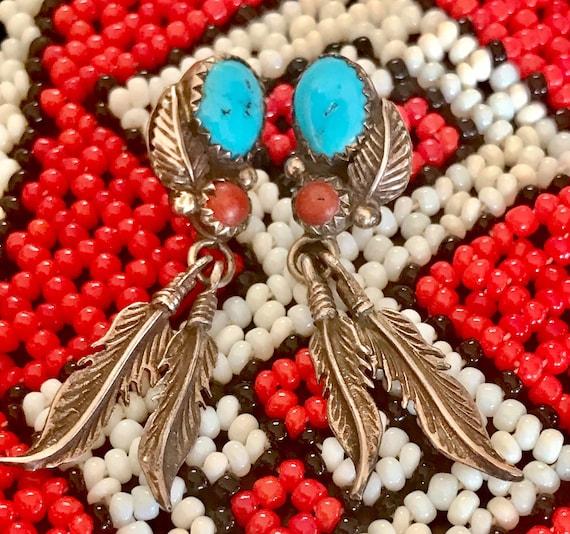 Vintage Navajo Feather Earrings, Pierced Earrings,