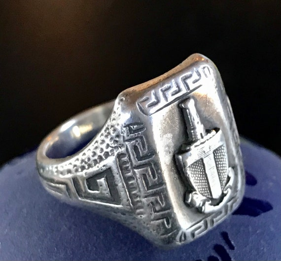 VIntage Sterling Silver Sword Shield Ring, Heavy S