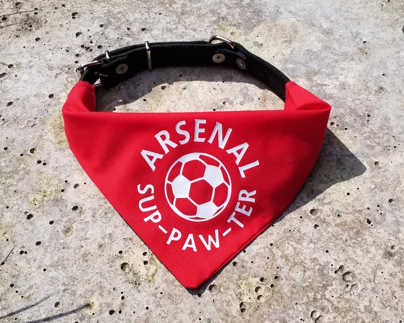 size 40 09112 ab3c1 Arsenal sup-paw-ter pet bandana | soccer accessory for cat and dog collars  | football fc jersey shirt gift by the Mucky Paw Store