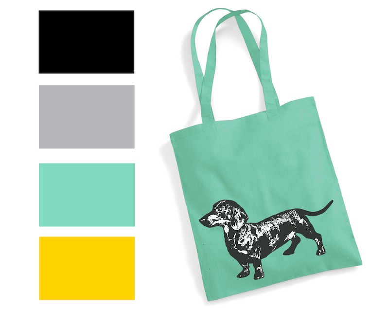 23317f3bfa0 Dachshund Art Print Bag yellow mustard mint green grey