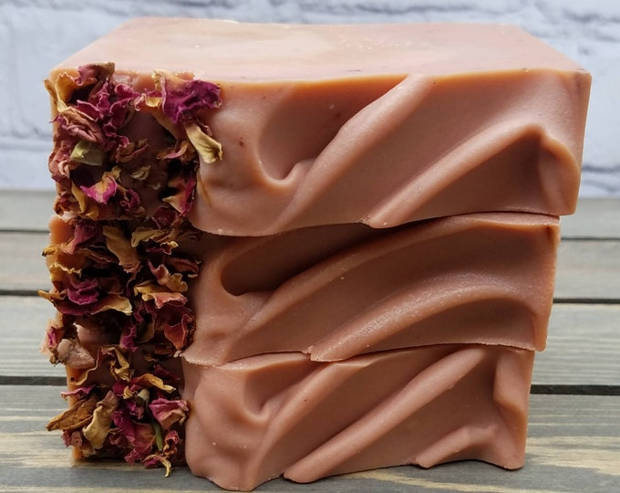 Featured listing image: Passionfruit Rose Cold Process Soap with Red Kaolin Clay and Dried Roses