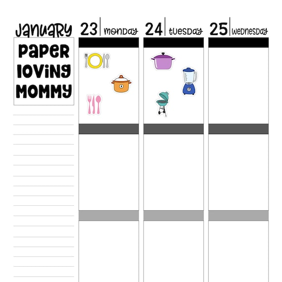 meal planning planner stickers etsy