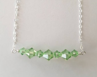 Peridot Swarovski and Sterling Silver Bar Necklace