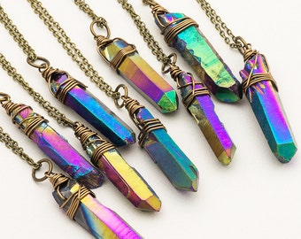 Large Crystal Point Pendant Bohemian Jewelry Boho Jewelry Layering Jewelry Crystal Pendant Necklace