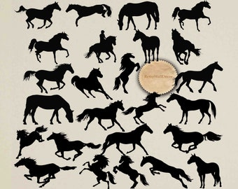 Horse Silhouette ClipArt Animal Black SVG Cricut Cut File Svg Dxf Png Buy 2 Get 1 FREE