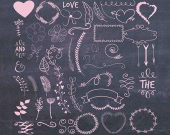 Wedding Clip Art Hand Drawn 50 Pink Swirly Flourish Clipart Hearts Love Arrows Printable Buy 2 Get 1 FREE