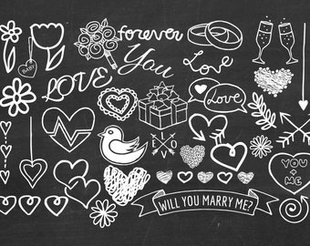 Hand Drawn Wedding Clip Art Chalkboard Clipart Hearts Rings Flourishes Doodle White Buy 2 Get 1 FREE