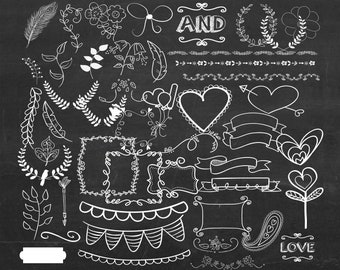 Hand Drawn Clip Art Wedding Chalkboard Clipart Laurel Wreath Flourish White Buy 2 Get 1 FREE