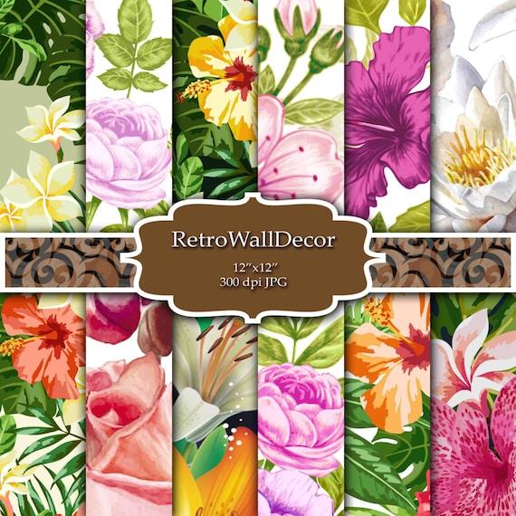 Flower Digital Paper Floral Digital Paper Floral Background Paper 12x12 Buy 2 Get 1 FREE Rose Digital Paper Shabby Chic Floral Pattern