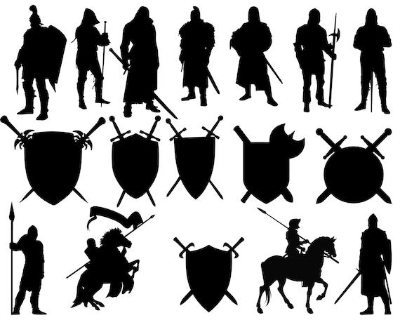 Knight Silhouettes Knight Clip Art Knight Svg Medieval Etsy