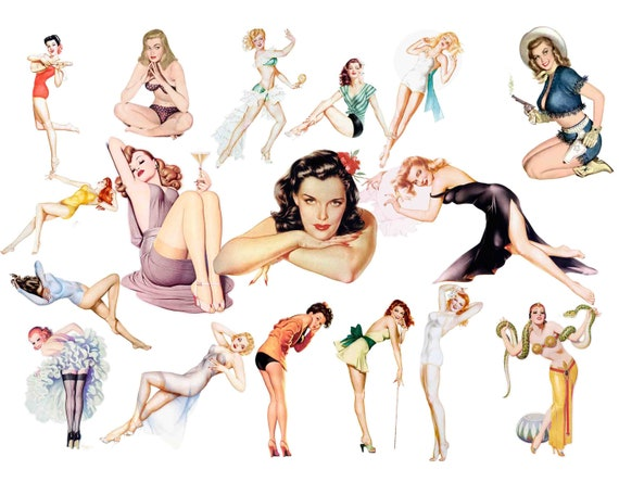 pin up girls clipart mid century advertising elements retro rh etsy com pin up girl clipart free pin up girl clipart free