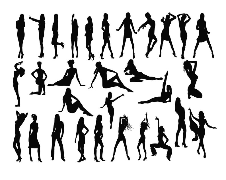 Woman Silhouette Svg Women Clipart Lady Silhouette Sexy